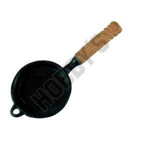 Black Frying Pan With Wooden Handle