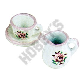 Cup,Saucer And Creamer - Rose Pattern
