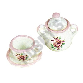 Cup,Saucer & Sugar Bowl - Rose Pattern