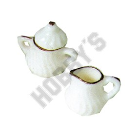 Porcelain Sugar Bowl & Creamer