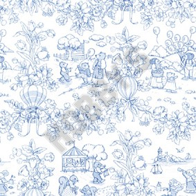 Playland Toile Wallpaper - Blue