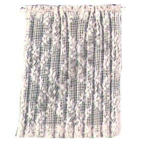 White Flowered Lace Curtain