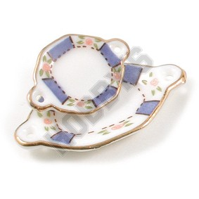 Plates With Handles - Blue/Gold