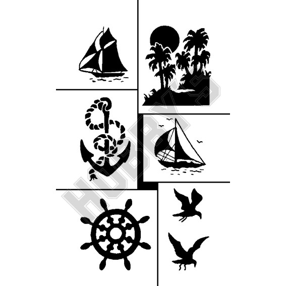 Various Boating - Sailing Boat, Anchor, Ships Wheel, Seaguls & Island.