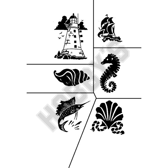 Various Sea - Lighthouse, Sailing Boat, Shell, Seahorse, Swordfish.