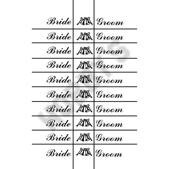 Words Bride & Groom  Picture Bells  X 10