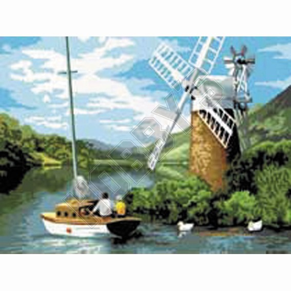 Painting By Numbers - Windmill On The River