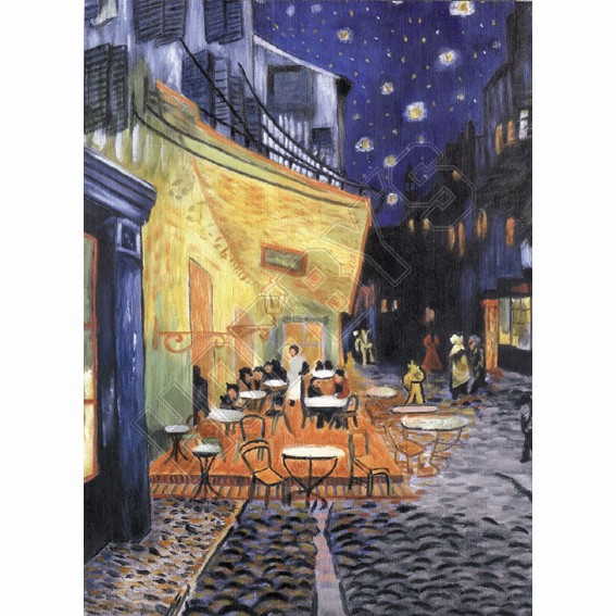 Terrace At Night - Oil Painting