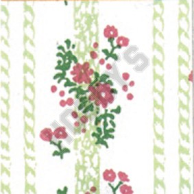 Georgina Wallpaper - Green & Pink On White