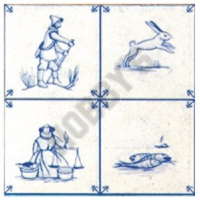 Delft Wallpaper - Blue On Ivory