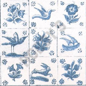 Early Delft Wallpaper - Blue On White