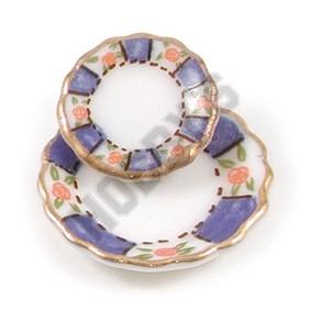 Round Blue/Gold Plates