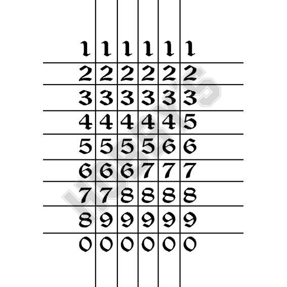 Numbers Large Calligraphy 5 Of Each