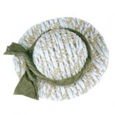 Straw Hat with Green Ribbon
