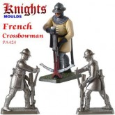 Medieval French Crossbowman loading crossbow