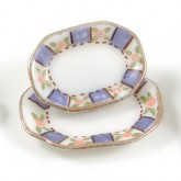 Rectanglar Blue/Gold Plates